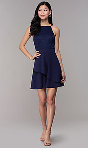 Image of short lace-bodice wedding-guest dress in navy blue. Style: SS-D72973H910 Detail Image 3