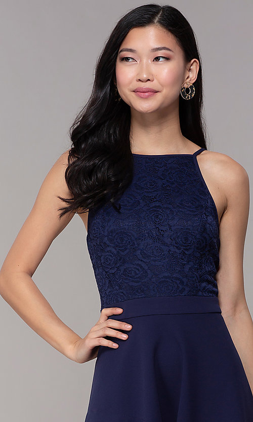 Image of short lace-bodice wedding-guest dress in navy blue. Style: SS-D72973H910 Detail Image 1