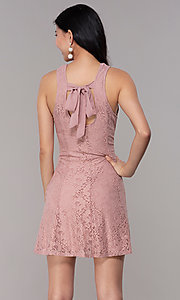 Image of short princess-cut party dress in antique rose. Style: SS-JA31146H932 Back Image