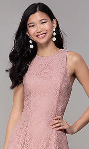 Image of short princess-cut party dress in antique rose. Style: SS-JA31146H932 Detail Image 1