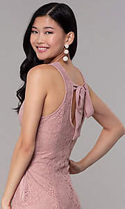 Image of short princess-cut party dress in antique rose. Style: SS-JA31146H932 Detail Image 2
