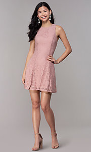 Image of short princess-cut party dress in antique rose. Style: SS-JA31146H932 Detail Image 3
