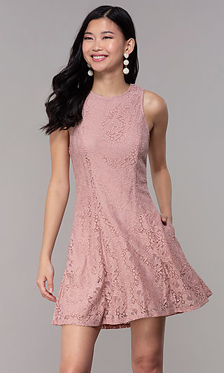Short Princess-Cut Party Dress in Antique Rose