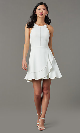 Short White Graduation Party Dress with Ruffle Hem