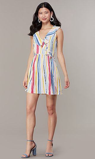 Short Striped V-Neck Graduation Party Dress