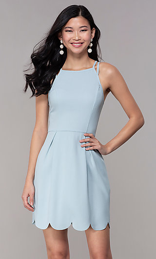 Scalloped Hem Short Graduation Party Dress