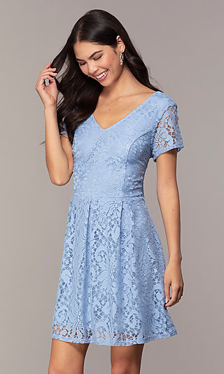V-Neck Lace Short-Sleeve Grad Dress