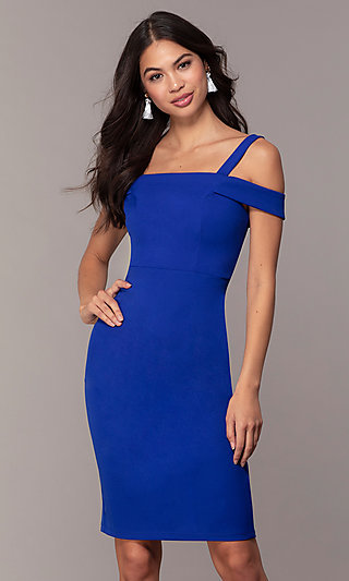 Cobalt Blue Short Cold-Shoulder Wedding Guest Dress