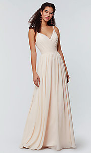 Image of chiffon long bridesmaid dress with ruched bodice. Style: KL-200128 Detail Image 4