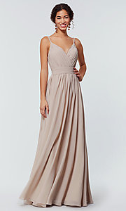 Image of chiffon long bridesmaid dress with ruched bodice. Style: KL-200128 Detail Image 1