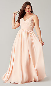 Image of chiffon long bridesmaid dress with ruched bodice. Style: KL-200128 Detail Image 5
