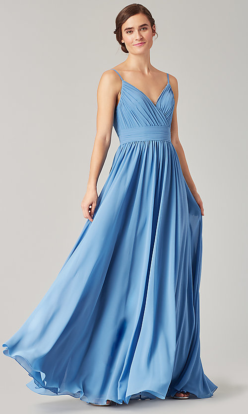 Image of chiffon long bridesmaid dress with ruched bodice. Style: KL-200128 Detail Image 3