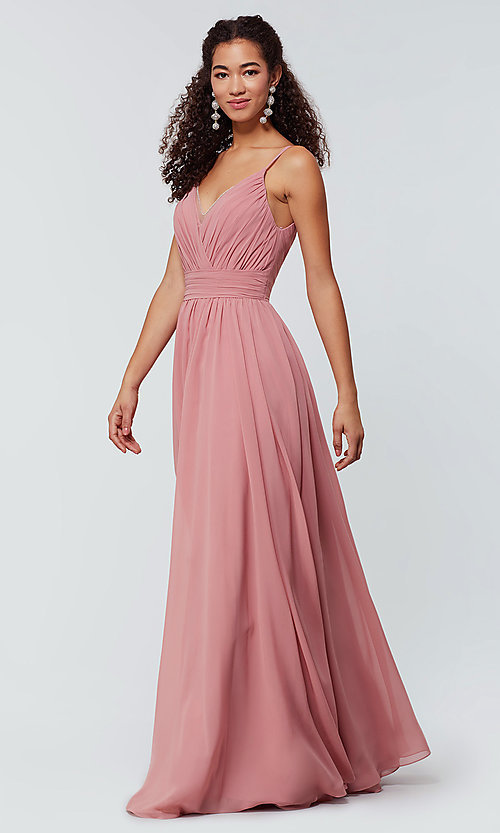 Image of chiffon long bridesmaid dress with ruched bodice. Style: KL-200128 Front Image