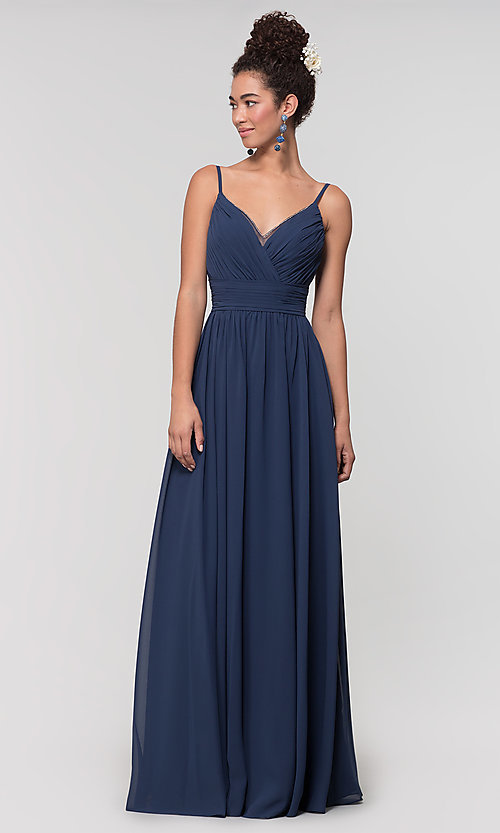 Image of chiffon long bridesmaid dress with ruched bodice. Style: KL-200128 Detail Image 6