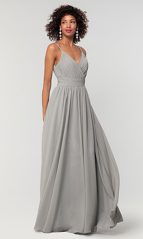Image of chiffon long bridesmaid dress with ruched bodice. Style: KL-200128 Detail Image 8