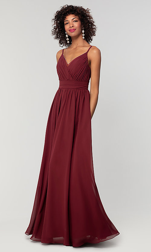 Image of chiffon long bridesmaid dress with ruched bodice. Style: KL-200128 Detail Image 7