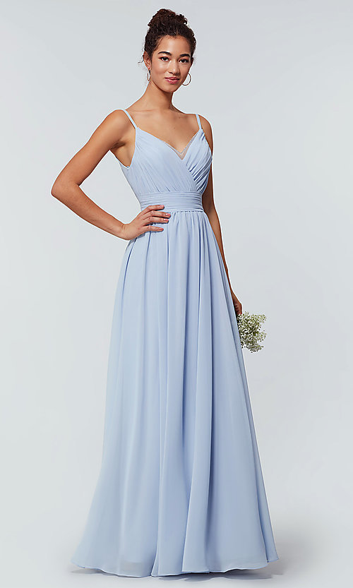 Image of chiffon long bridesmaid dress with ruched bodice. Style: KL-200128 Detail Image 2
