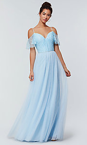 Image of long cold-shoulder bridesmaid dress with lace. Style: KL-200121 Front Image