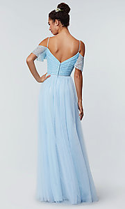 Image of long cold-shoulder bridesmaid dress with lace. Style: KL-200121 Back Image