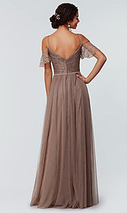 Image of long cold-shoulder bridesmaid dress with lace. Style: KL-200121 Detail Image 5