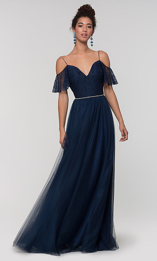 Image of long cold-shoulder bridesmaid dress with lace. Style: KL-200121 Detail Image 1
