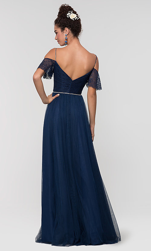 Image of long cold-shoulder bridesmaid dress with lace. Style: KL-200121 Detail Image 2