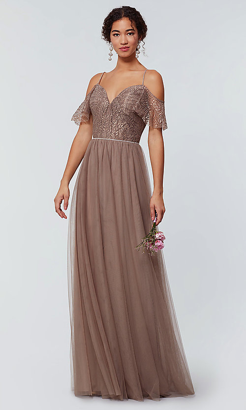 Image of long cold-shoulder bridesmaid dress with lace. Style: KL-200121 Detail Image 4