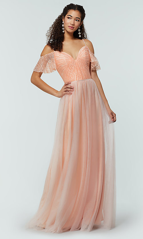 Image of long cold-shoulder bridesmaid dress with lace. Style: KL-200121 Detail Image 6