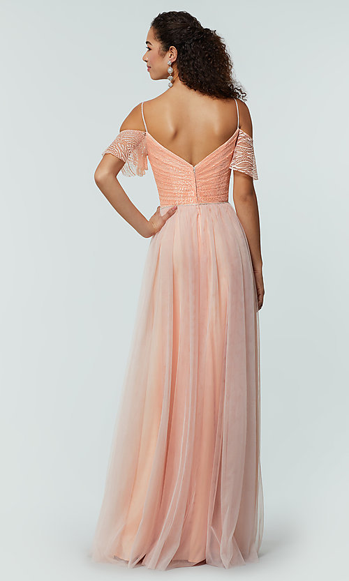 Image of long cold-shoulder bridesmaid dress with lace. Style: KL-200121 Detail Image 7