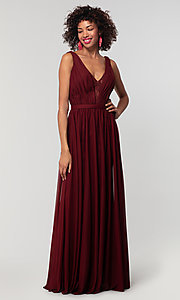 Image of v-neck long chiffon bridesmaid dress with lace inset. Style: KL-200163 Detail Image 7