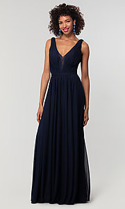 Image of v-neck long chiffon bridesmaid dress with lace inset. Style: KL-200163 Detail Image 4