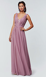Image of v-neck long chiffon bridesmaid dress with lace inset. Style: KL-200163 Detail Image 1