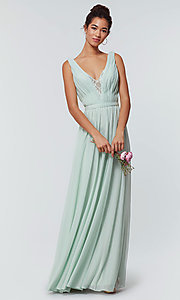 Image of v-neck long chiffon bridesmaid dress with lace inset. Style: KL-200163 Detail Image 6