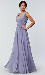 Image of v-neck long chiffon bridesmaid dress with lace inset. Style: KL-200163 Detail Image 3
