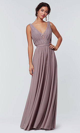 Kleinfeld Chiffon Bridesmaid Dress with Lace Inset