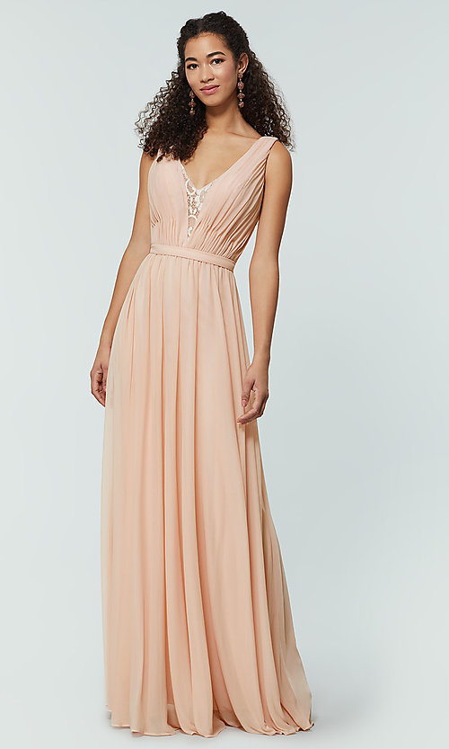 Image of v-neck long chiffon bridesmaid dress with lace inset. Style: KL-200163 Detail Image 8