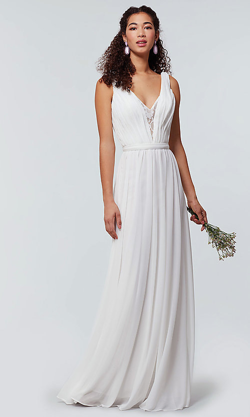 Image of v-neck long chiffon bridesmaid dress with lace inset. Style: KL-200163 Detail Image 5