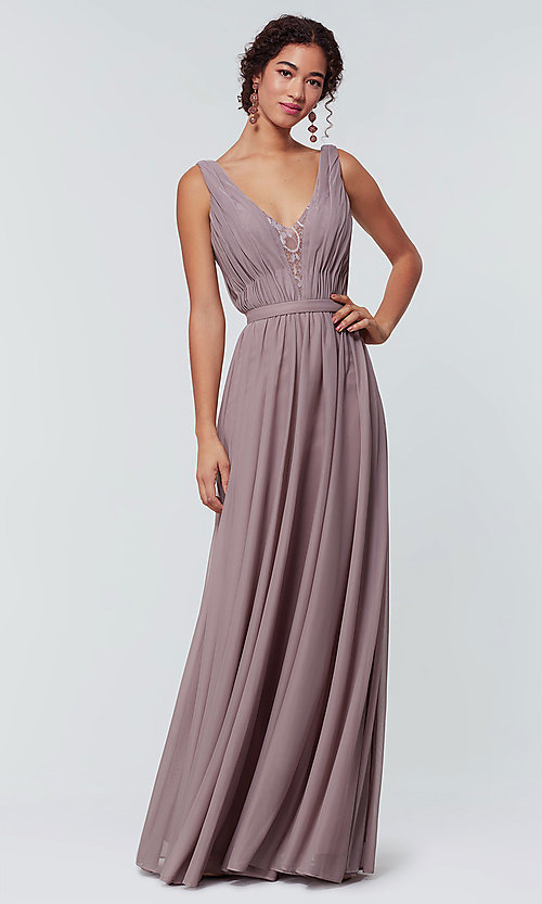 Image of v-neck long chiffon bridesmaid dress with lace inset. Style: KL-200163 Front Image