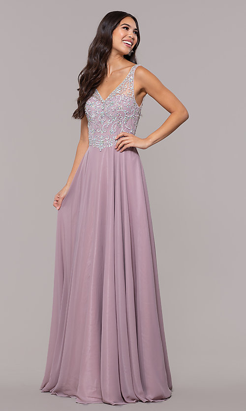 Image of long mocha v-neck prom dress by PromGirl. Style: DQ-PL-2809 Detail Image 3