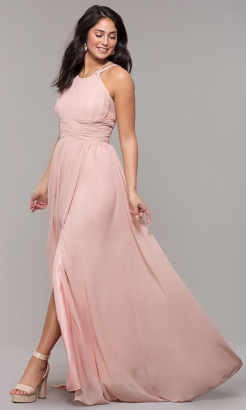 Image of high-neck long chiffon Kalani Hilliker prom dress. Style: SJP-KH105 Detail Image 3