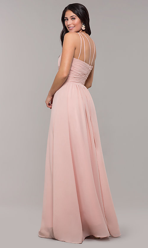 Image of high-neck long chiffon Kalani Hilliker prom dress. Style: SJP-KH105 Back Image