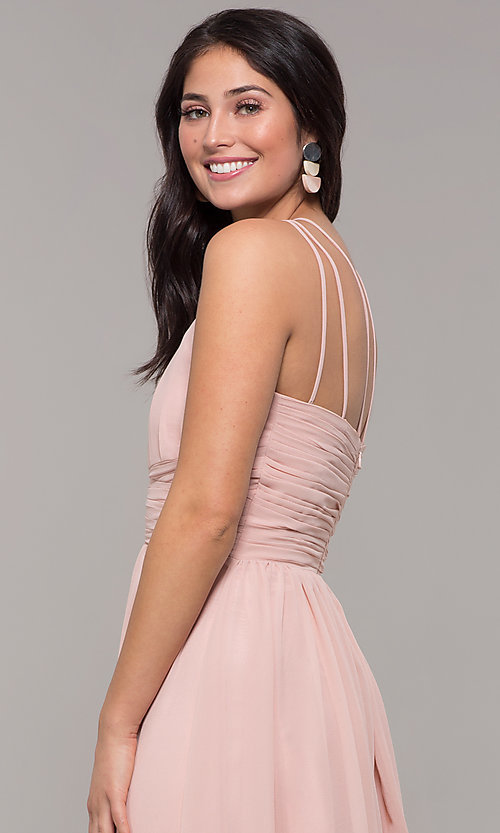 Image of high-neck long chiffon Kalani Hilliker prom dress. Style: SJP-KH105 Detail Image 2