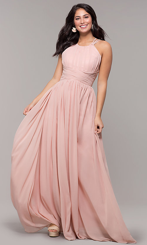 Image of high-neck long chiffon Kalani Hilliker prom dress. Style: SJP-KH105 Front Image