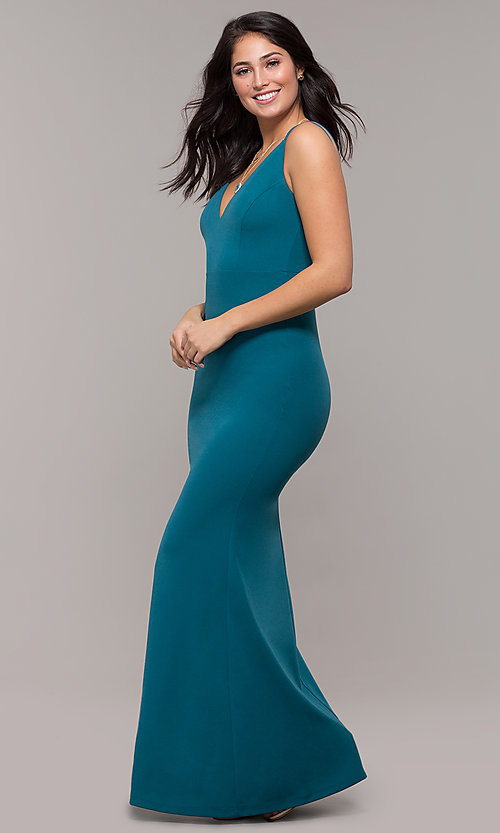 Image of long v-neck mermaid prom dress by Kalani Hilliker. Style: SJP-KH109 Detail Image 3