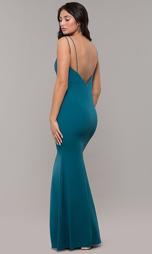 Image of long v-neck mermaid prom dress by Kalani Hilliker. Style: SJP-KH109 Back Image