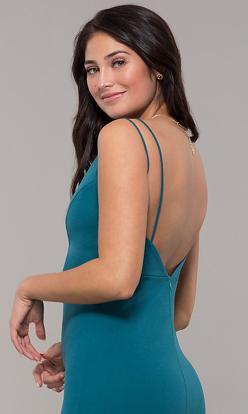 Image of long v-neck mermaid prom dress by Kalani Hilliker. Style: SJP-KH109 Detail Image 2
