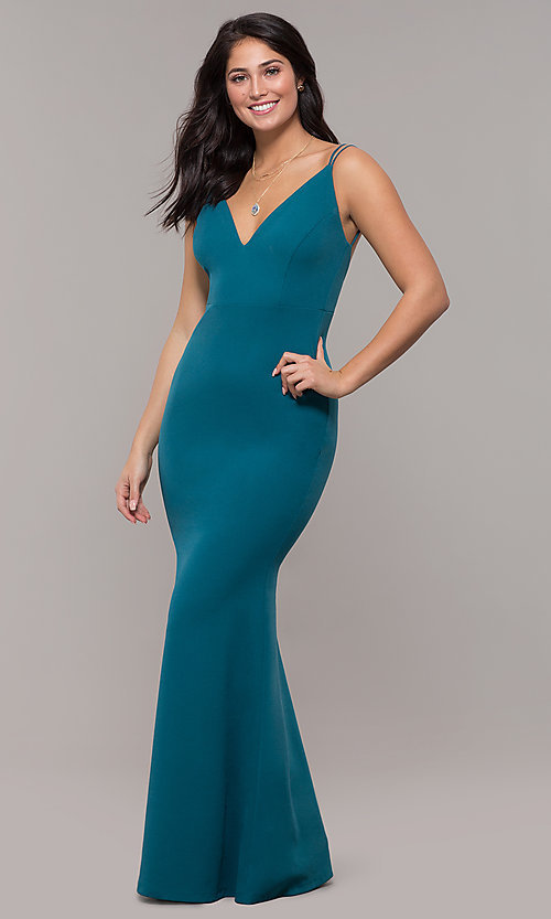 Image of long v-neck mermaid prom dress by Kalani Hilliker. Style: SJP-KH109 Front Image