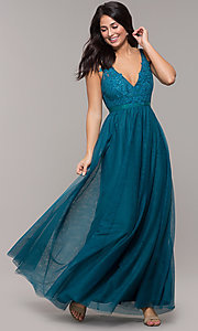 Image of long v-neck teal blue prom dress by Kalani Hilliker. Style: SJP-KH110 Detail Image 3