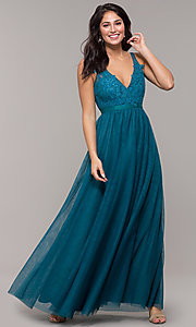 Image of long v-neck teal blue prom dress by Kalani Hilliker. Style: SJP-KH110 Front Image