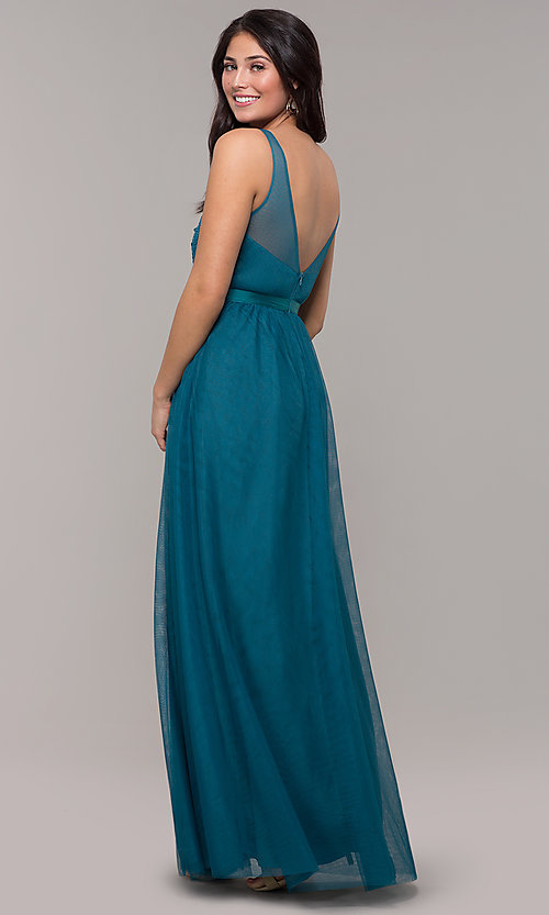 Image of long v-neck teal blue prom dress by Kalani Hilliker. Style: SJP-KH110 Back Image